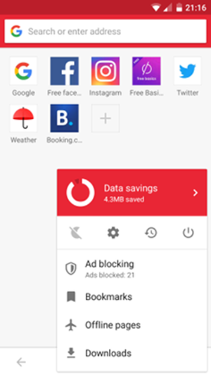 Opera Mini - Image: Opera Mini screenshot on Android