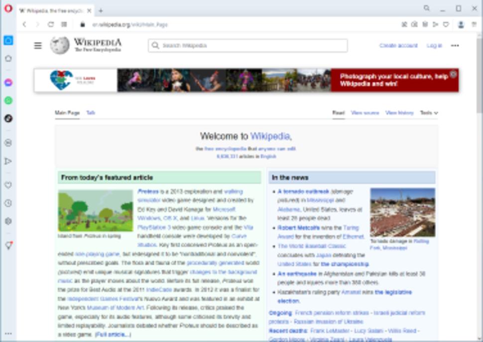 Opera 60 displaying the Wikipedia main page on Windows 10