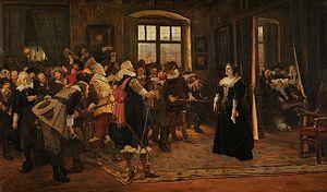 Lobkowicz Palace - Polyxena, Princess Lobkowicz hiding the Emperor's emissaries, V. Slavata and J. Martinic, in the Lobkowicz Palace on 23 May 1618, Rudolf Vejrych after Václav Brožík