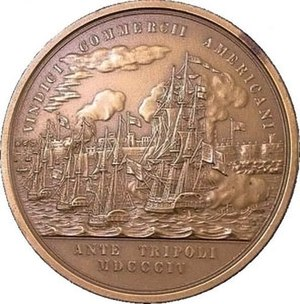 Edward Preble - Reverse of Congressional Medal. VINDICI COMMERCII AMERICANI. (To the vindicator of American commerce.) Exergue: ANTE TRIPOLI MDCCCIV. (Off Tripoli, 1804). Representing the bombardment, by the American fleet in the foreground, of the forts and town of Tripoli in the background. The American vessels are drawn up in line, and several boats manned are seen in the water casting off to the attack of the enemy's shipping and batteries.