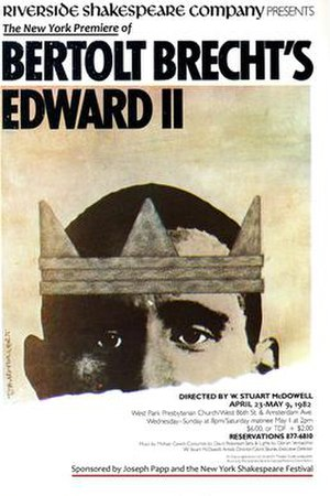 Bertolt Brecht - Poster for the Riverside Shakespeare Company's production of Brecht and Lion Feuchtwanger's Edward II; New York City, 1982