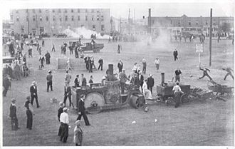 Regina, Saskatchewan - Rioters and police during the Regina Riot, 1935, an event of national significance shortly before the end of the government of Prime Minister R.B. Bennett, followed by his departure from Canada.