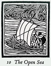 "a man with black skin standing with a staff in the stern of a small sailing boat, which has eyes either side of the bows; he wears a cloak. Waves and sky swirl around and above. Beneath the illustration are the words ""10 The Open Sea"""