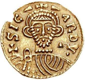 Pactum Sicardi - Contemporary effigy of Prince Sicard, namesake of the Pactum, from one of his coins