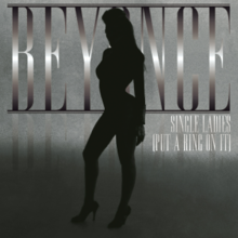 "The silhouette of a woman. She is standing in front of a grayscale background and the words ""Beyoncé"" and ""Single Ladies (Put a Ring on It)"", which are written in silver capital letters."