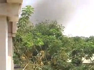 Battle of N'Djamena (2008) - Smoke rising from the direction of the presidential palace