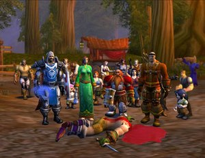 "Make Love, Not Warcraft - Machinima was used extensively in ""Make Love, Not Warcraft"". Stan, Kyle, Cartman, and Kenny's characters stand above the slain griefer."