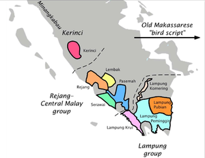 Rencong alphabet - Map showing distribution of Rencong scripts