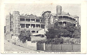 Postcard view of St. Aloysius College circa 1910 to 1920, these buildings have since been demolished