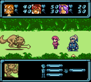 Star Ocean: Blue Sphere - A battle in Star Ocean: Blue Sphere: the three-strong party face off against a monster encountered during exploration.