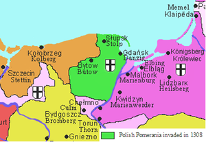 Lands of Schlawe and Stolp - Pomerelian lands with Schlawe-Stolp (green) under the Teutonic Knights, 1308
