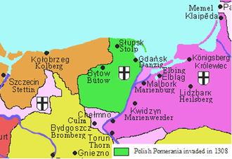 Teutonic takeover of Danzig (Gdańsk) - Pomerelia (Polish Pomerania) while part of the Monastic state of the Teutonic Knights