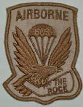 "503rd Infantry Regiment (United States) - Desert-colored unofficial regimental patch, utilizing ""The Rock"" nickname"