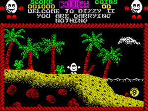 Treasure Island Dizzy - The first screen of the ZX Spectrum version