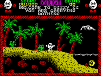 Dizzy (series) - The first screen of Treasure Island Dizzy, ZX Spectrum version