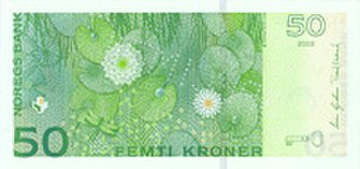 Banknotes of the Norwegian krone - Image: VII 50 bakside