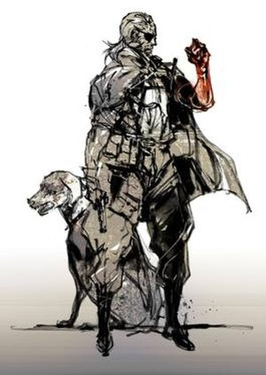 Venom Snake - Concept art of Venom Snake standing next to an early design of his canine companion, who is depicted as a Rhodesian Ridgeback in this artwork.