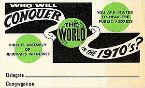 Watch Tower Society unfulfilled predictions - Convention badge from circuit assembly, circa 1970
