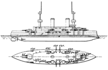Drawing of a large ship showing top and side views, with guns labeled and armor protection shaded