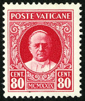 Postage stamps and postal history of Vatican City - 1929 Vatican City postage stamp featuring the image of Pope Pius XI