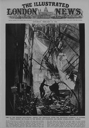 Elstree Studios - 1936. Fire destroys three stages of British and Dominion Studios. From the Illustrated London News 15 February 1936