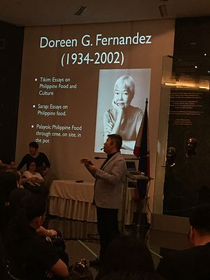 Ambeth Ocampo - Ocampo giving a lecture on Philippine food at the Ayala Museum in 2016.