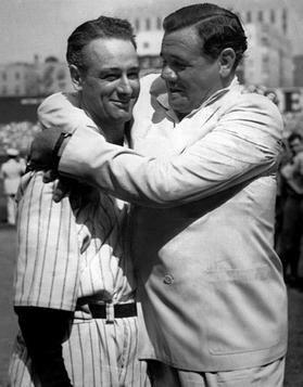Babe Ruth hugging Lou Gehrig (1939)
