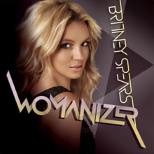 "Upper bust of Britney Spears. She looks into the camera over her right shoulder. Her mouth is slightly open. She is wearing a black top with small holes. The background is composed by geometric figures in different shades of purple. In an upside down vertical direction, the words ""BRITNEY SPEARS"" are written in light yellow capital letters. On the lower part of the image, the word ""WOMANIZER"" is written in capitals with shades of light violet and light yellow."
