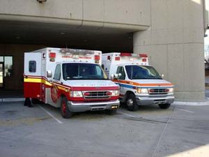 LFD (left) and JCEMS (right) ambulances at Uof...
