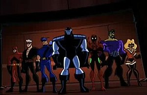 Crime Syndicate of America - The Injustice Syndicate from The Brave and the Bold. From left to right, Dyna-Mite, Elastic Man, Blue Bowman, Silver Cyclone, Scarlett Scarab, Parallel Earth Aquaman and Parallel Earth Fire