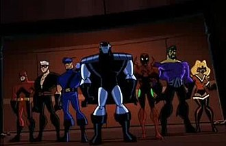 Crime Syndicate of America - The Injustice Syndicate from The Brave and the Bold. From left to right, Dyna-Mite, Elastic Man, Blue Bowman, Silver Cyclone, Scarlett Scarab, Barracuda and a Parallel Earth Fire