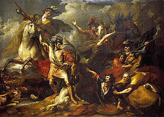 Alexander III of Scotland - 'Alexander III being Rescued from the Fury of a Stag by the Intrepidity of Colin Fitzgerald', by Benjamin West