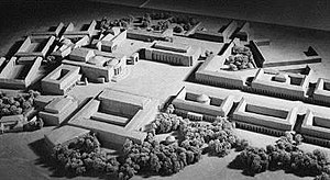 Führermuseum - A model of the European Culture Center; the facade of the Führermuseum can be seen at the center of the image, near the top, facing the camera