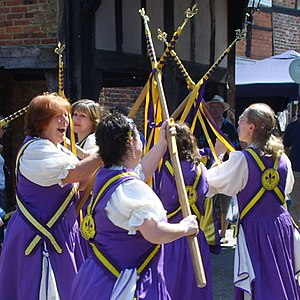 "Stave dancing - Fleur-de-Lys Morris from Godalming, Surrey perform a new stave dance ""Magic Circles"""
