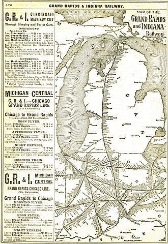 Grand Rapids and Indiana Railroad - Image: GR Irailmap