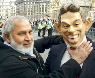 Respect Party - Respect candidate Ghazi Khan, with someone dressed as Blair, at the 18 March 2006 Anti-War Protest in London
