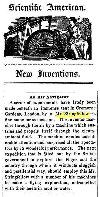 Aerial steam carriage - Scientific American, 23 September 1848 describing the aircraft's display at Cremorne Gardens, London.
