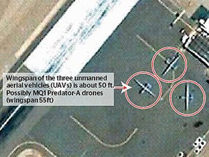 Drone strikes in Pakistan - Image: Image said to be Predator drone aircraft at Shamsi Airbase in Pakistan no longer available on Google Earth