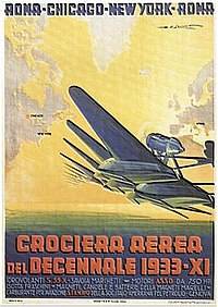 Poster for Italo Balbo's transatlantic flight to the Century of Progress in Chicago.