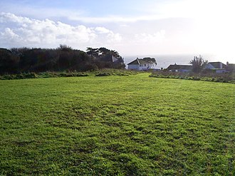 Lescudjack Hill Fort - The site of Lescudjack Hill Fort, Penzance, Cornwall looking south towards Mount's Bay