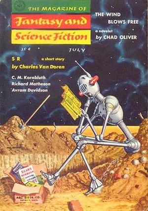 The Magazine of Fantasy & Science Fiction - One of Mel Hunter's series of robot covers which began in 1955.  This example is from the July 1957 issue.