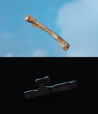 Film transition - A bone-club and an orbital platform: the two subjects of the iconic match cut in 2001: A Space Odyssey.