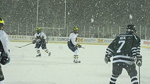 Michigan Wolverines women's ice hockey - Michigan and Michigan State played each other in a snowy outdoor game on December 6, 2010