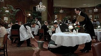 Mr Creosote - Mr. Creosote (Terry Jones), with the maître d' (John Cleese, right) and second waiter (Eric Idle, left)