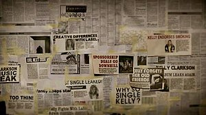 "Mr. Know It All - Close-up screenshot of the ""Wall of Doubt"", containing derogatory headlines about Clarkson."