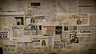 """Mr. Know It All - Close-up screenshot of the """"Wall of Doubt"""", containing derogatory headlines about Clarkson."""