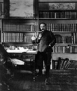 1896 in poetry - Rudyard Kipling in his study, about this year