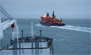 Northeast Passage - Nuclear icebreaker NS 50 Let Pobedy escorting the Beluga Fraternity and Beluga Foresight through the Northern Sea Route in 2009