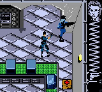 Perfect Dark (Game Boy Color) - The game is presented from a top-down perspective. The player's health and ammunition are displayed on the right side of the screen.