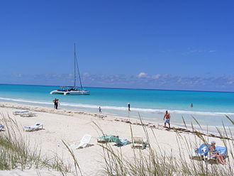 Cayo Guillermo - Playa Pilar with the catamaran Ocean Voyager moored off the beach